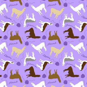 Little Llamas with yarn - purple