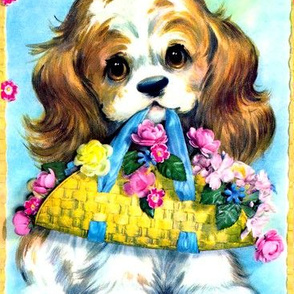 dogs puppy puppies flowers baskets cavalier king Charles spaniel vintage retro kitsch whimsical lolita