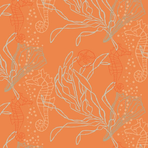 Seahorses & Seashells on Tangerine Tone
