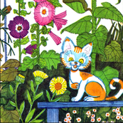 colorful flowers gardens cats pussy kittens sunflowers morning glory vintage retro kitsch
