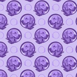 Collared Golden Retriever portraits - purple