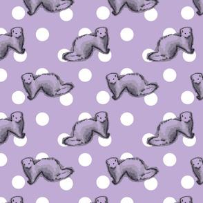 Ferrets and polka-dots - purple