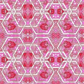 Interlocking Hexagons (pink)