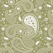 Paisley with butterflies_green