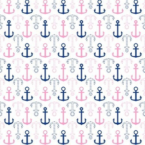 Pink and Navy Anchors