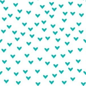 Little Teal Hearts on White