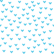 Little Turquoise Hearts on White