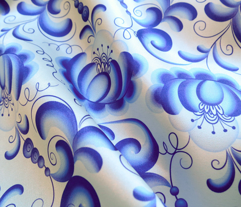 Blue floral pattern in Gzhel style