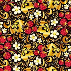 Golden raspberry pattern