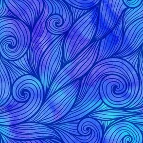 Blue curly watercolor waves