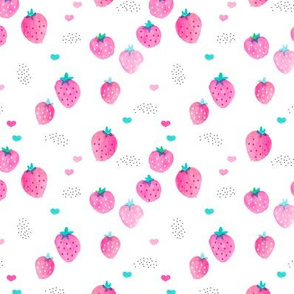Hot summer strawberry garden pink water colors illustration pattern print Small