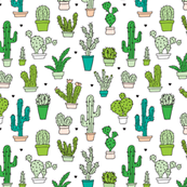 Cactus cacti garden botanical succulent green garden pattern illustration print Small