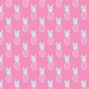 Hot pink summer pineapple illustration trendy kids fashion print pattern Small