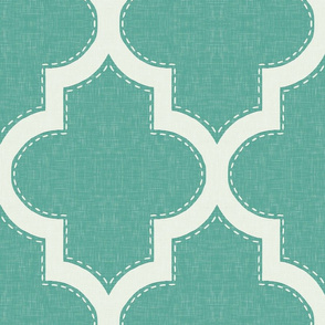 Stitched Quatrefoil in Teal Linen