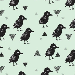 Cute pastel mint and black blackbird birds illustration print and geometric details