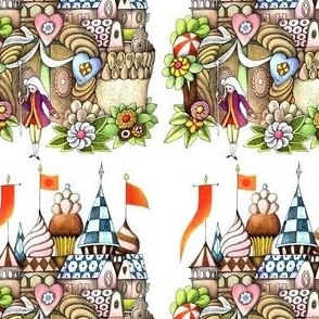 castles palaces footman flowers fairy tales vintage retro kitsch whimsical cupcakes whipped cream desserts cookies biscuits sweets candy candies