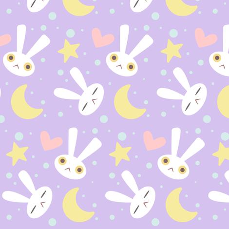 Rabbit on the moon fabric kcretcher spoonflower for Moon print fabric