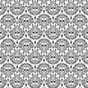 Dead Damask Black on White Tiny