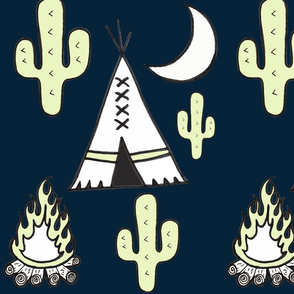 Moonlit teepees cactus camp fire