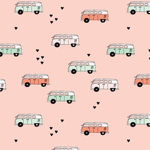 Cute summer camper van bus camping trip illustration hippie love for girls