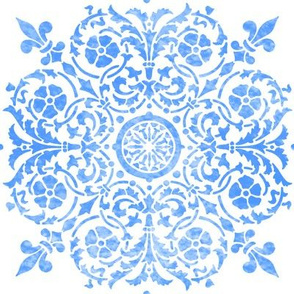 Seville Damask in watercolor Delft