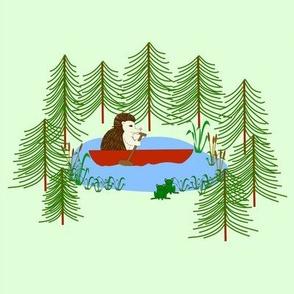 hedgehog rowing alone