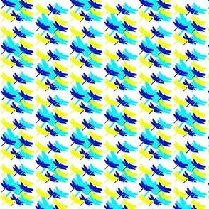 Dragonflies Blue Yellow on White