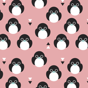 Adorable pink baby penguin birds with geometric detailing for girls