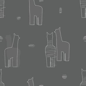 Llama pattern gray and white