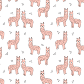 Alpaca - (Smaller version) Pink/White by Andrea Lauren