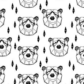 Geometric Bear Head - Black and White (Smaller) by Andrea Lauren