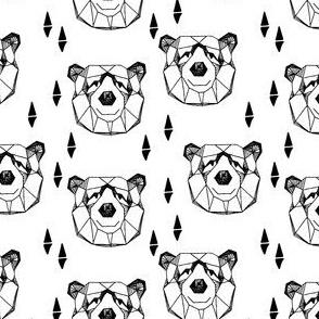 Geometric Bear Head - Black and White (Smaller) by Andrea Lauren