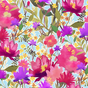 Watercolor Flower Pattern (Larger scale)