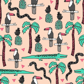 tropical // palm tree toucan flamingo crocodile alligator snake tropical kids