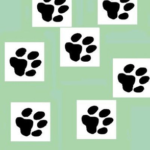 Paw Prints on Green