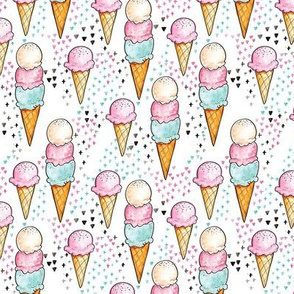 Pink Ice Cream SMALL // trendy, modern, watercolor, summer, sweet, girl, mint, cone, tamara arcilla, tamara_arcilla