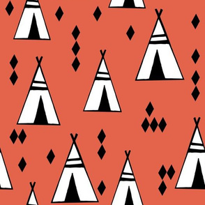 Teepees - Custom Coral Color by Andrea Lauren