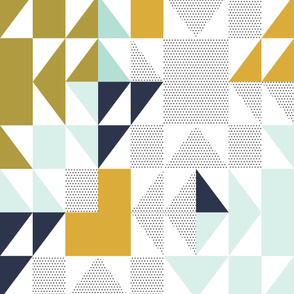 "puzzle wholecloth // polka dot mustard // oversized 54"" x 72"""
