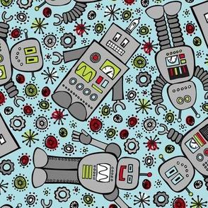 Retro Robots (Blue)