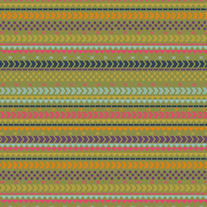 Peruvian stripe on green