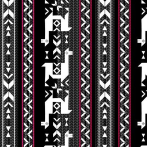 Llamas_Black and White + fuchsia