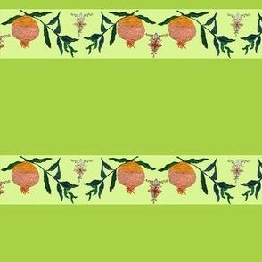 Persephone's pomegranate border on green