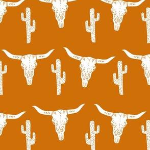texas // longhorn cactus skull southwest rust orange