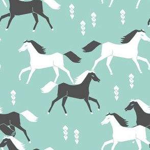 horses // mint and grey kids western cowboy texas ranch