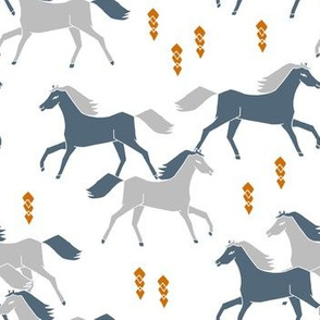 horses // running horses grey and blue boys cowboy