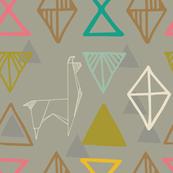 Llami Origami- Llama, Alpaca Geometric Abstract Mountains