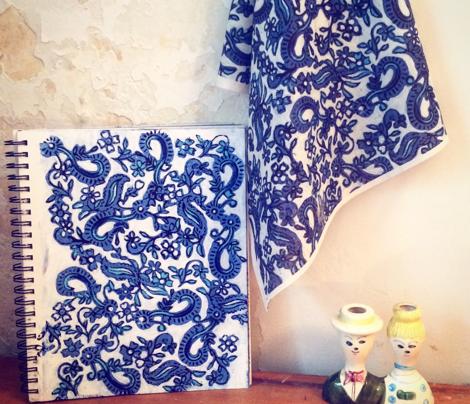 Blue Block Floral