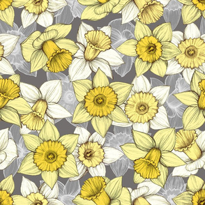 Daffodil Daze - Yellow, Grey & White floral pattern
