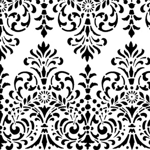 Dower House Damask ~ Black and White