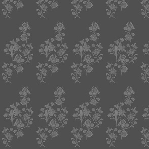Light grey mixed floral on charcoal